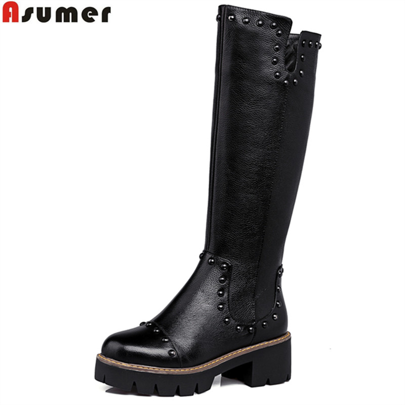 ФОТО Plus size high quality pu+genuine leather women motorcycle boots square heele autumn winter knee high riding boots women shoes
