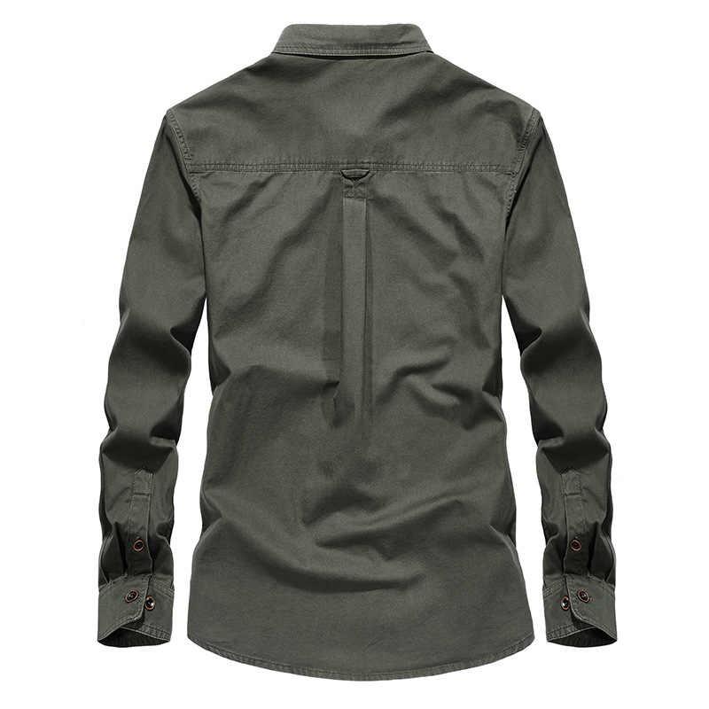 Camisas Dos Homens do Estilo militar Uniforme 4XL Plus Size Grande Algodão Manga Longa Britânico 2019 do Sexo Masculino Camisas De Carga Eua Exército Verde homens da camisa