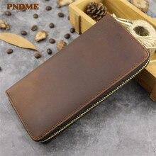 PNDME simple crazy horse leather mens womens wallet vintage high quality genuine long zipper phone bag female purse