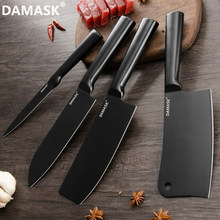 DAMASK Black Coating Stainless Steel Knife High Sharpness Chef Chooping Knife Nakiri Japanese Santoku Cleaver Cooking Tools Sale(China)