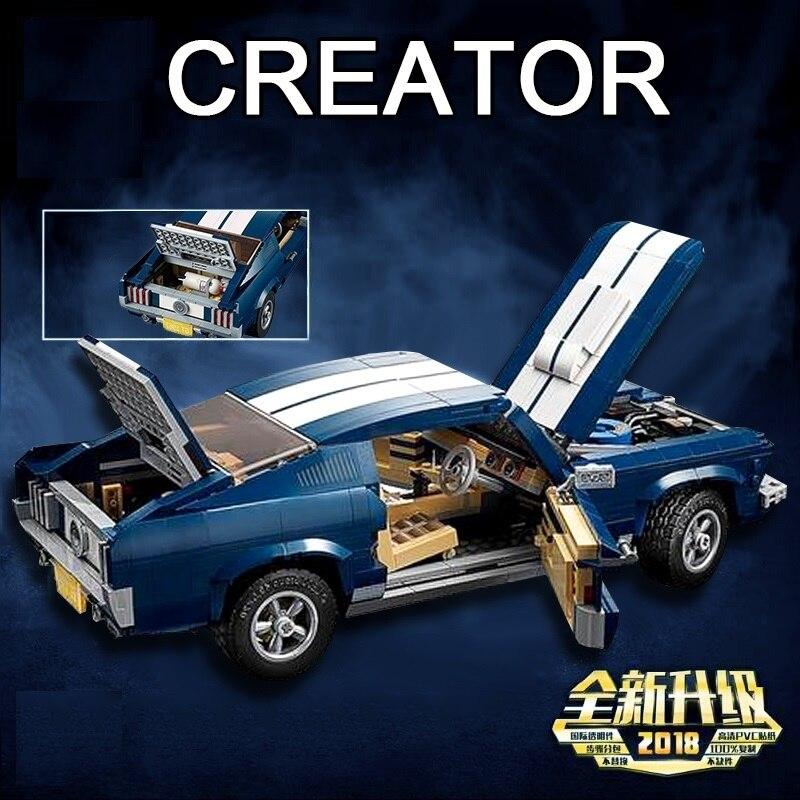 Oyuncaklar ve Hobi Ürünleri'ten Bloklar'de Yeni yaratıcı şehir serisi Ford Mustang modeli yapı taşları uyumlu Legoinglys 10265 klasik teknik araba styling oyuncakları'da  Grup 2