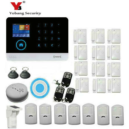YobangSecurity WIFI Gsm GPRS Wireless Home Alarm Security System With Wireless Siren Outdoor Waterproof Solar PIR Motion Sensor 868mhz wireless gsm alarm system 7 inch touch screen home alarm with bulit in lithium battery with wireless outdoor solar siren