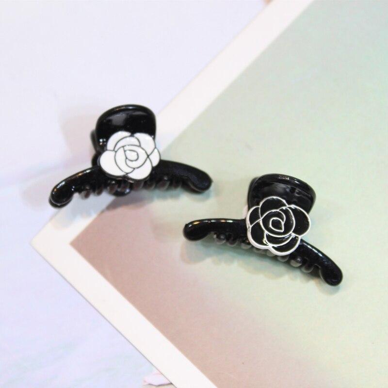 Женский черный пластиковый Краб заколки для волос с розовым цветком головной убор Модный корейский стиль аксессуары для волос брендовые Когти для волос