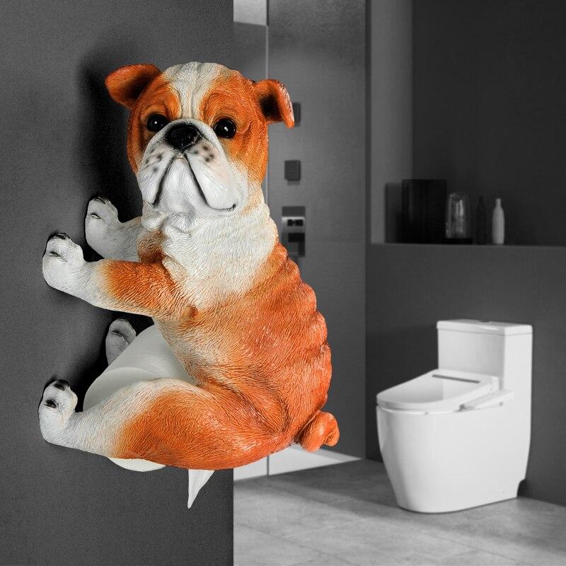 Bathroom Paper Towel Holder Creative Toilet Paper Tray Bathroom Roll Holder Resin 3D Dog Tray