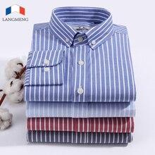Langmeng Brand Hot Sale New 2018 High Quality Mens Designer Striped Dress Shirt Men Slim Fit 100% Cotton Casual Shirts 4 Colors hot sale brand 100
