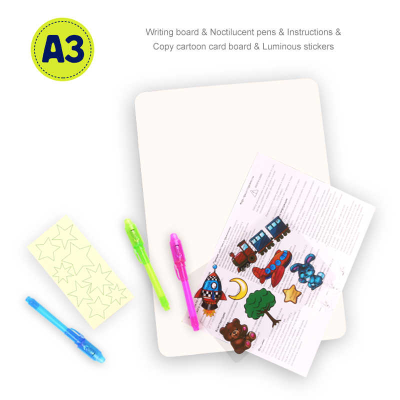 Crianças Brinquedos Engraçados desenhar Com Luz Da Noite No Escuro Noctilucentes Escrita Prancheta Mágica Definir Educacional Língua Russa Crianças