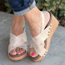 Europe summer 2019 new women sandals wedges high heel platform shoes woman fashion solid casual rivet plus size 35-43