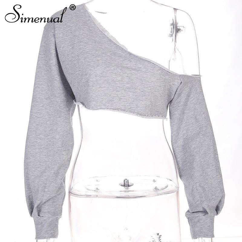 e5d88fb5da633 Off shoulder crop top sweatshirts for women 2018 fashion slim sexy ...