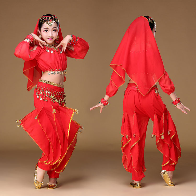 7b68c2dbca Indian Children Indian Dance 4 piece Costume Set (Top, Belt, Skirt and Head  Pieces) Kids Bollywood Dance Costumes for Girls-in Belly Dancing from  Novelty ...