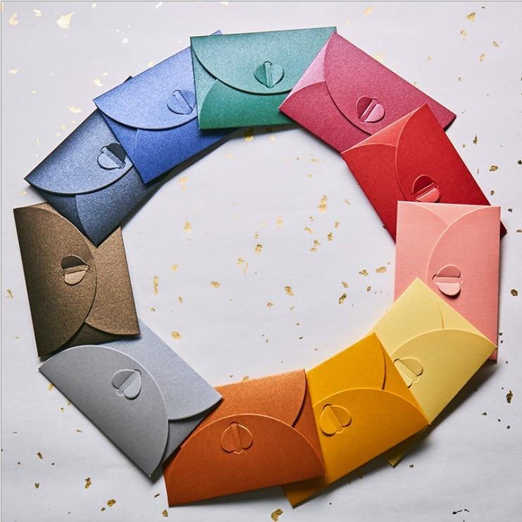 40pcs/set Vintage Love Small Colorful Pearl Blank Mini Kraft Paper Envelopes Wedding Invitation Envelope /gilt Envelope/11 Color