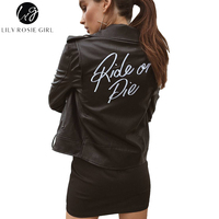 Lily Rosie Girl Letter Print Faux Leather Women Black Coat Motorcycle Zipper Jacket 2017 Autumn Winter Cool Motorcycle Outerwear