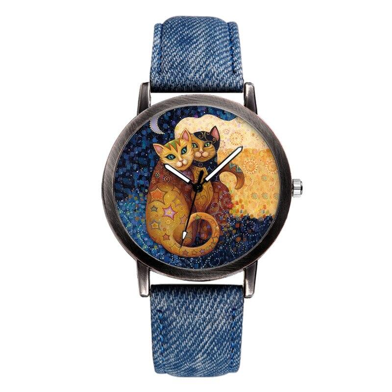 2018 New Fashion Unisex Watches Luxury Brand Men Quartz Wristwatches Cute Lover Cat Dial Ladies Watch Denim Band  Zegarek Damski