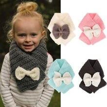 Дети теплый зимний шарф для маленьких девочек мальчиков бантом вязать вязаные шарфы