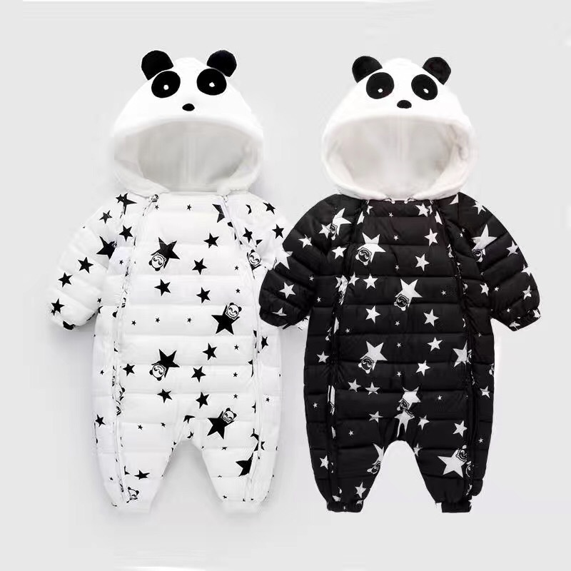 Winter style baby feather cotton rompers girls boys thick cartoon panda star clothes fashion cute infant hooded jumpers 17S907