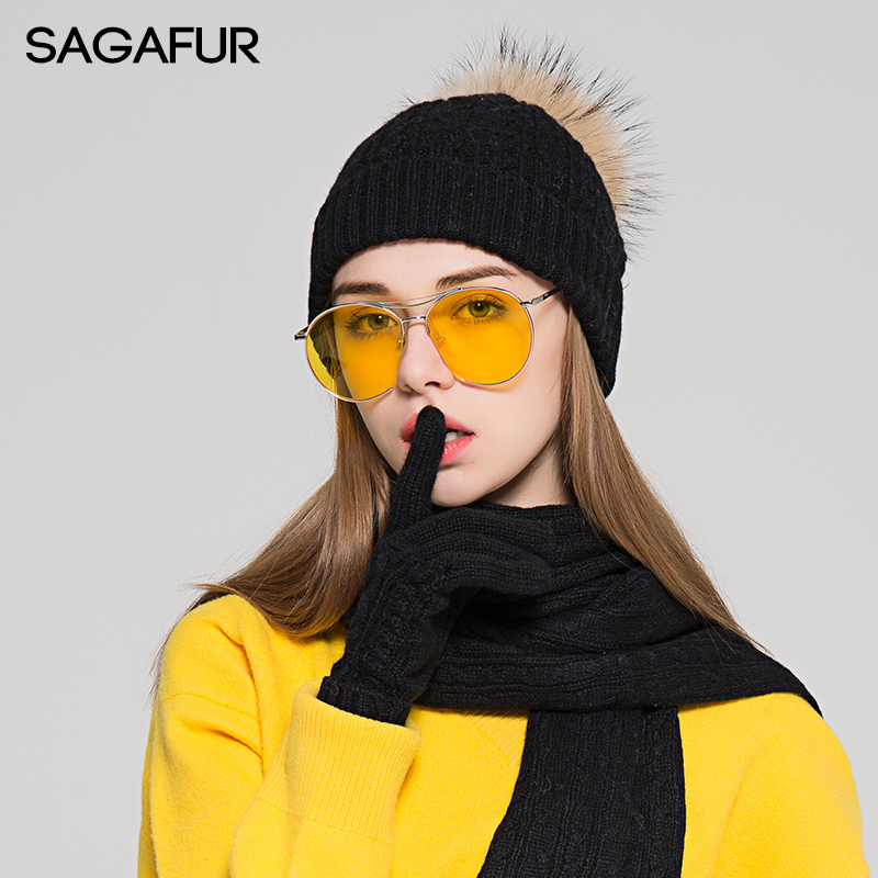 Scarf Hat Glove Sets Winter Beanie For Girls Fur Pompoms Hat Female 2019 Fashion Twist Knitted Hat Women's Wool Blends Hat Scarf