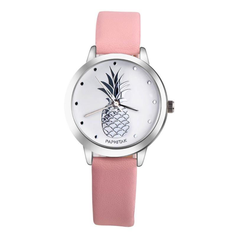 New Fashion Womens Watches Pineapple Faux Leather Analog Silver Quartz Dial Wist Watch Womens Clock Creative Reloj Mujer July20 dynamite baits xl pineapple