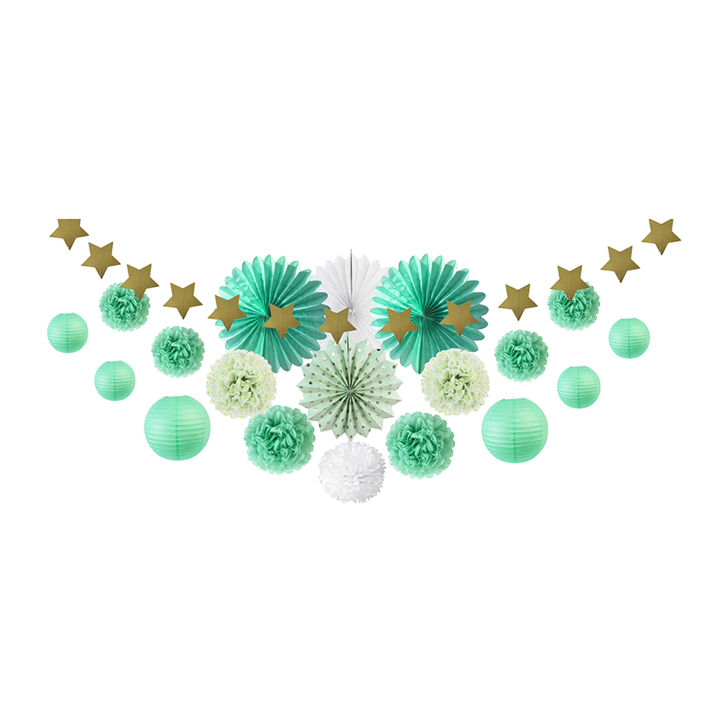 20pcs Mint Green Party Decoration Kit Paper Fans L...