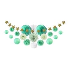 цена на 20pcs Mint Green Party Decoration Kit Paper Fans Lanterns Pom Pom Star Garland Hanging Decor for Event Birthday Wedding Shower