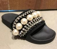 2017 Summer White Pearls Woman Sandal Chains Decorations Open Toe Flat Slippers Beaded Outside Beach Shoes