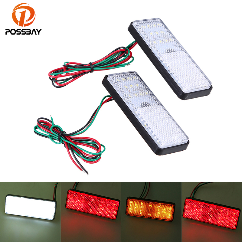 POSSBAY Pair Rectangle LED Reflector Rear Tail Brake Stop Light For Universal Motorcycle Turn Signal Side Warning Light