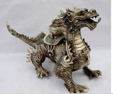 Collectibles Huge Tibetan Silver luck Dragon Statue Buddhist brass coated Decorated Material Old Decoration real