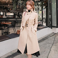 Long Knit Coat Trench Women 2017 Spring/Fall Latest Loose Slim Pea Coat Female Beige Adjust Waist Long Trench Coat Girls Outwear