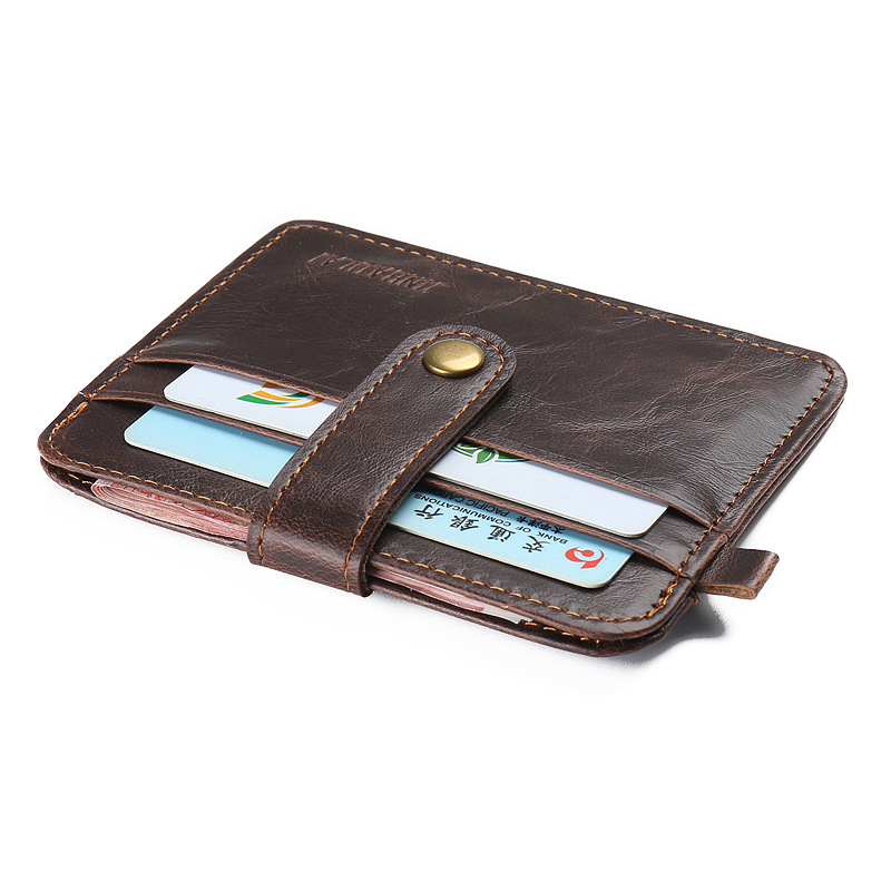 0c4add76d0bd Hot Vintage Crazy horse leather slim Men's wallet with small money bag man  credit card holder mini purse for male-in Wallets from Luggage & Bags on ...