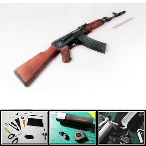 CS AK74 Assault Rifle Gun 1 1 Scale DIY Handmade Paper Model Craft font b Toy