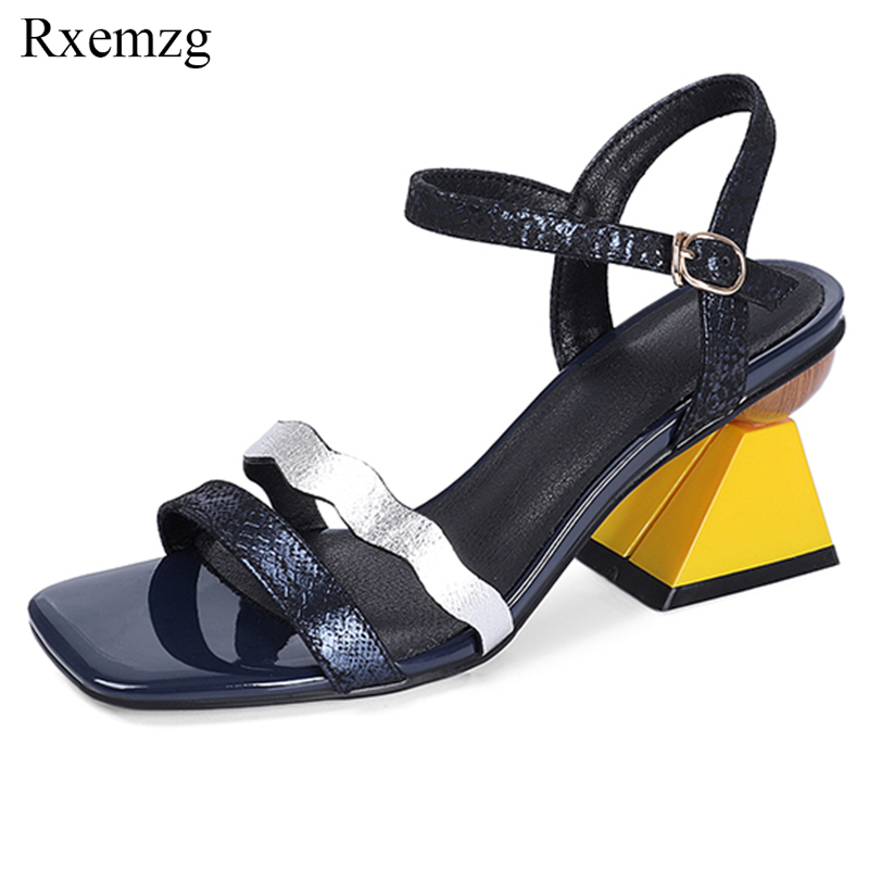Rxemzg elegant women strange heels summer sandals genuine leather shoes woman open toe buckle strap ladies sandals blue green-in High Heels from Shoes    1