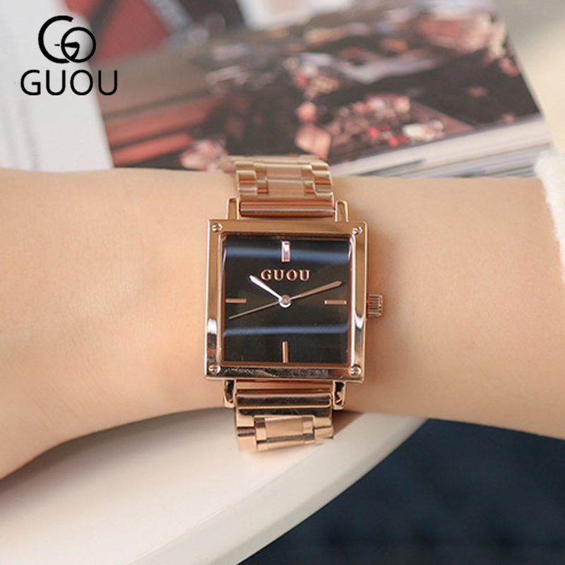 2018 Women's Square Rose Gold Alloy Quartz Watches GUOU Luxury Waterproof Simple Watch for Woman Ladies Gilrs Wrist watches все цены