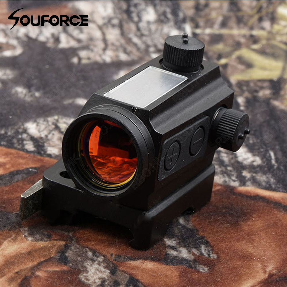1X25 Tactical Sloar Power Red Dot Sight Scope Quick Detach Picatinny Rail Mount Holographic Sight For Outdoor Hunting Shooting