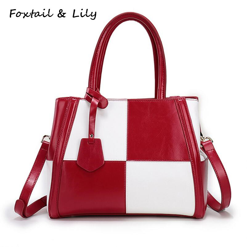 Foxtail & Lily Fashion Plaid Patchwork Genuine Leather Bag for Women Leather Handbags Luxury Quality Shoulder Crossbody Bags