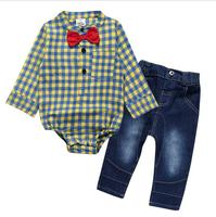 Fashion Baby Boy Clothes Sets Gentleman Yellow Plaid Rompers Shirts With Red Bow Jeans Baby Boys