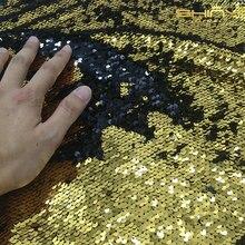 Meerjungfrau Fishscale Pailletten Stoff von der Werft Reversible Pailletten Stoff für DIY Brautkleid Prom Abendkleid Custume-Gold-schwarz
