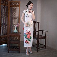 Chinese Long Dress Women's Silk Cheongsam Size S-3XL