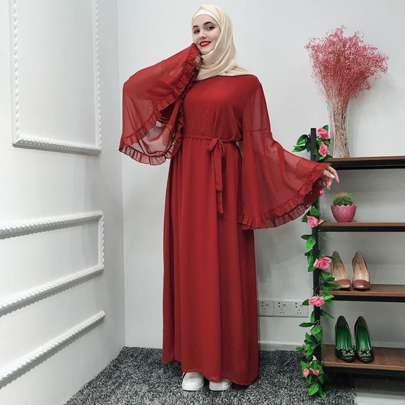 Ramadan Kaftan Chiffon Abaya Turkey Islam Muslim Dress Jilbab Caftan Tesettur Elbise Hijab Dresses Abayas For Women Robe Femme