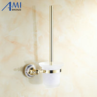 Golden stainless steel Toilet Brush Holders Bathroom Accessories hardwares toilet vanity 7008GP
