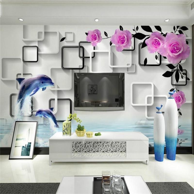 beibehang Wallpaper Mural Wall Sticker Modern 3D 3D Rose Dolphin Water Reflection Frame Background Wall papel de parede