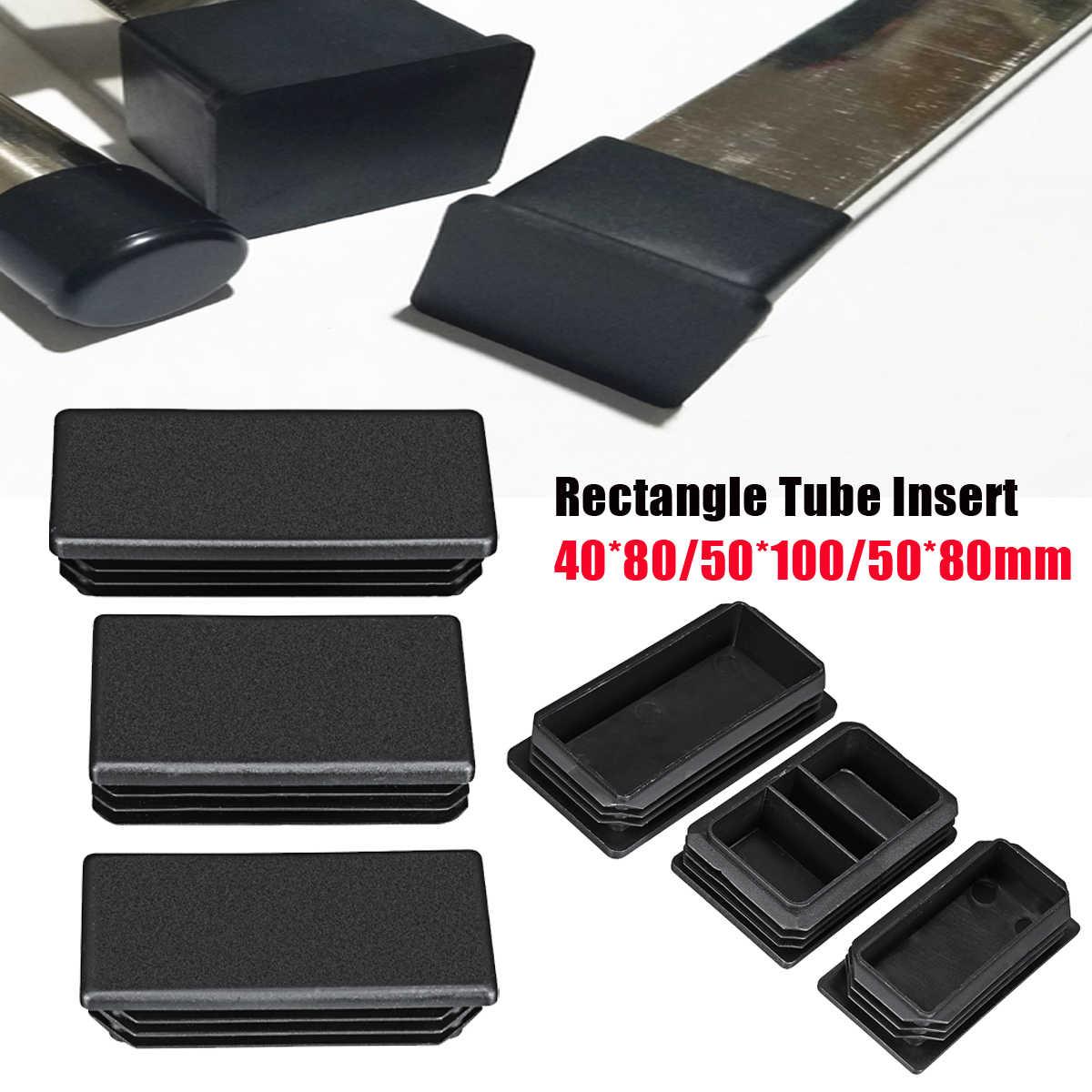 جديد 40x80/50x100/50x80 مستطيل أنابيب إدراج غطاء طرف بلاستيكي التشطيب التوصيل مستطيل حفرة إدراج
