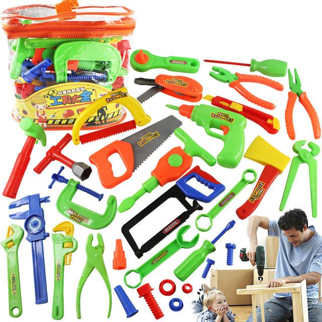 32 Unids/set Herramienta Juguetes Pretend Play House Juguetes de Simulación Ingeniero Herramientas de Kit de Reparación de Taller De Alimentación Motosierra Herramientas Niños Regalos de Los Niños