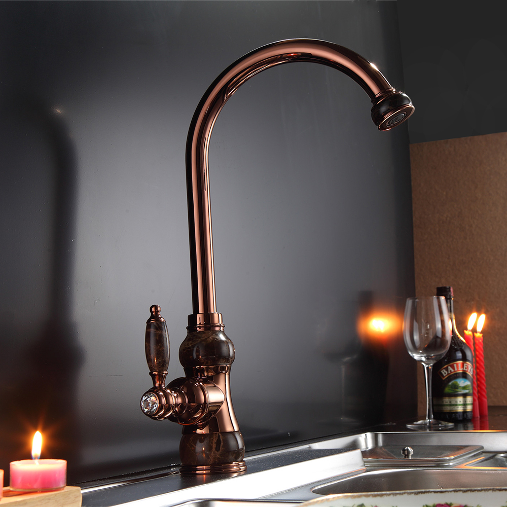 popular gold kitchen faucets buy cheap gold kitchen faucets lots marble design kitchen faucet single handle single hole kitchen tap rose gold golden sink mixer tap