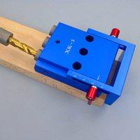 Drei Löcher Aluminium Legierung Schräge Loch Jig Kit System für Holz Arbeits Punch Locator mit 9 5mm Puncher Tasche Werkzeug set-in Handwerkzeug-Sets aus Werkzeug bei