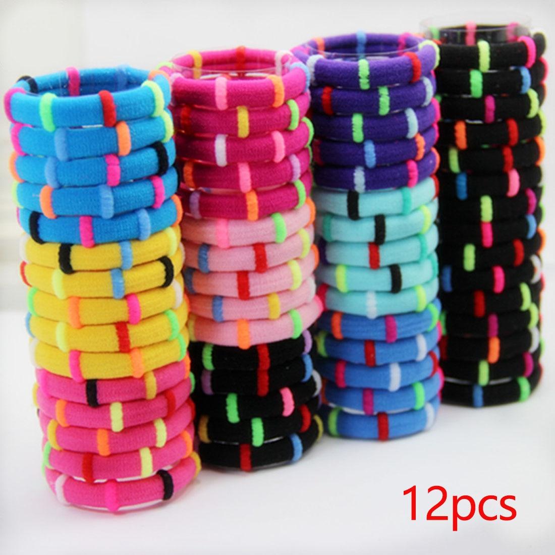 1 Pack = 12 Stks Kleurrijke Leuke Meisjes Elastische Haarbanden Bamboe Gezamenlijke Creatieve Rubber Hoofdbanden Haaraccessoires Ring Gom Houder