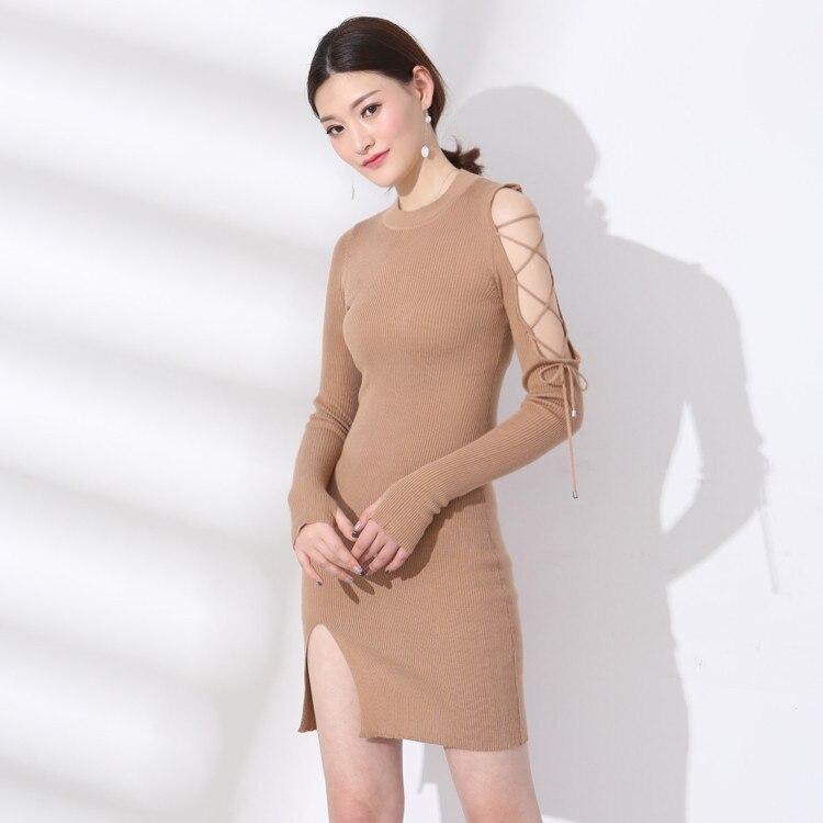 2018 новые весенние корейские модные женские для похудения дна длинные рукава o-образным вырезом трикотажное платье 18039