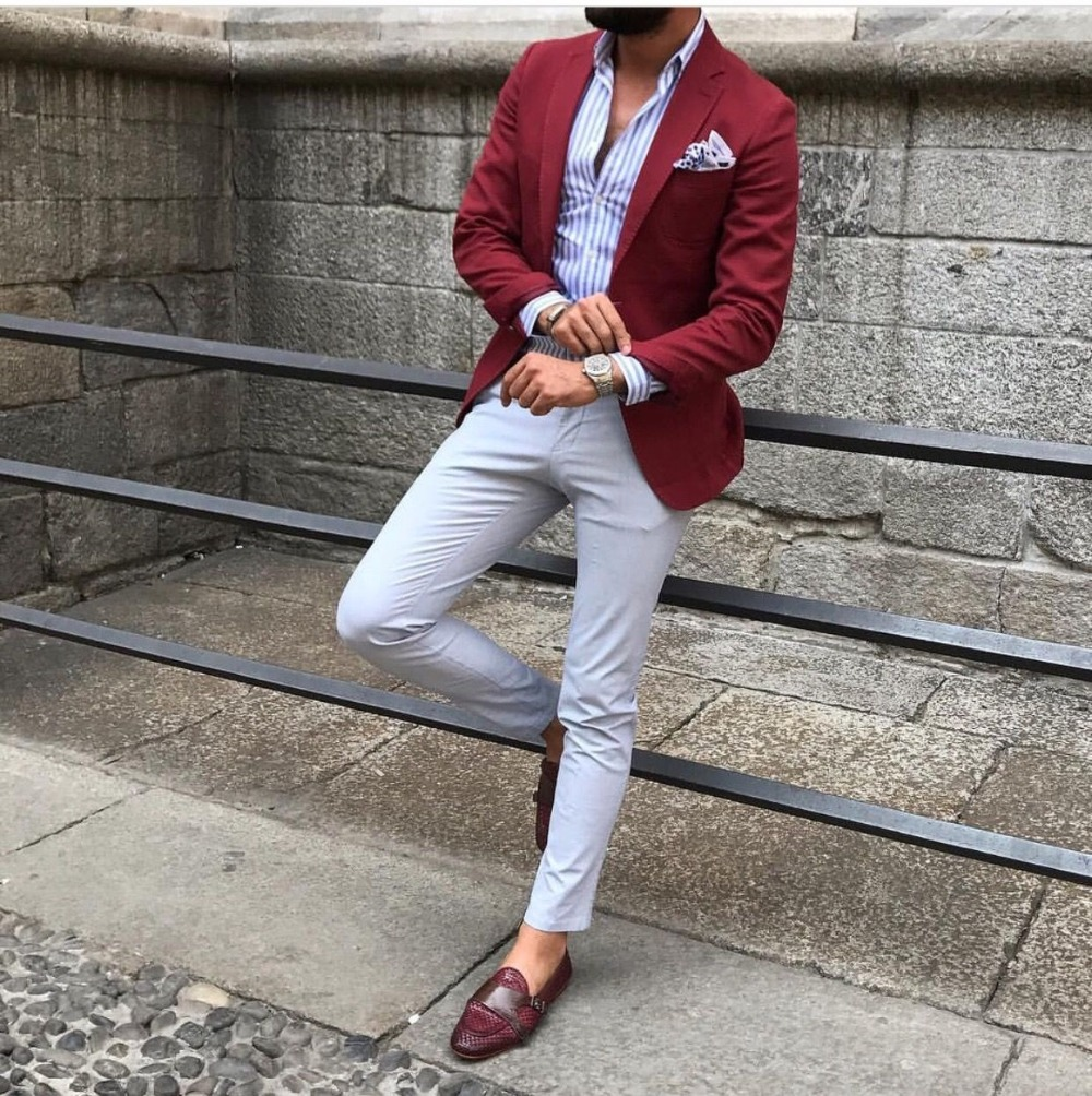 Slim Fit Red Men Blazer Grey Pants Casual Street Wear Suit Men Summer Smart Business Jacket Custom Party Prom Suits 2 Pieces