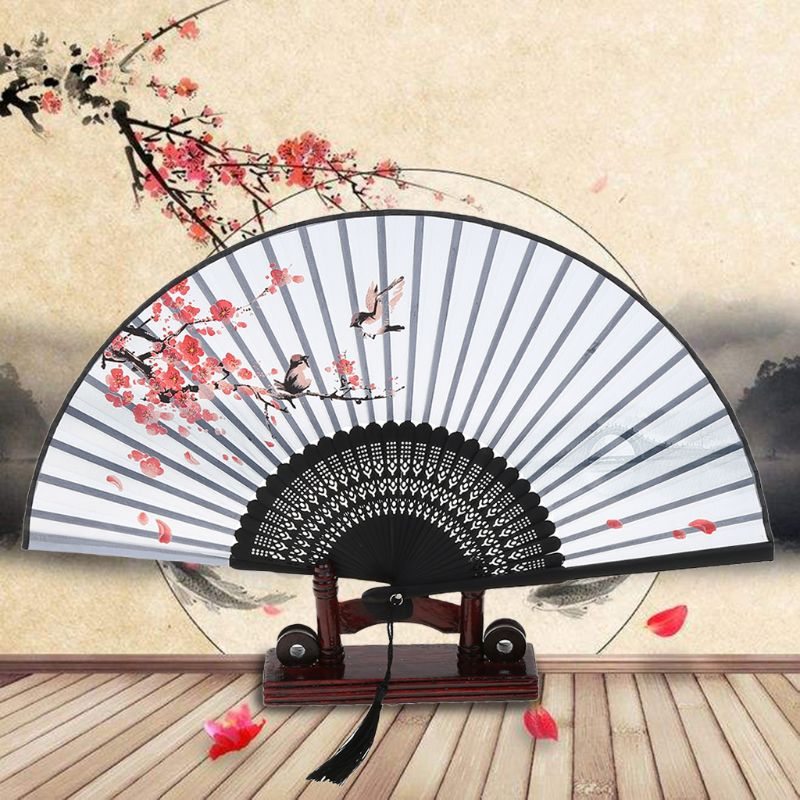Chinese Folding Fan Black Japanese Cherry Blossom Design Bamboo Hand Held Fan Wedding Party Decor Gift