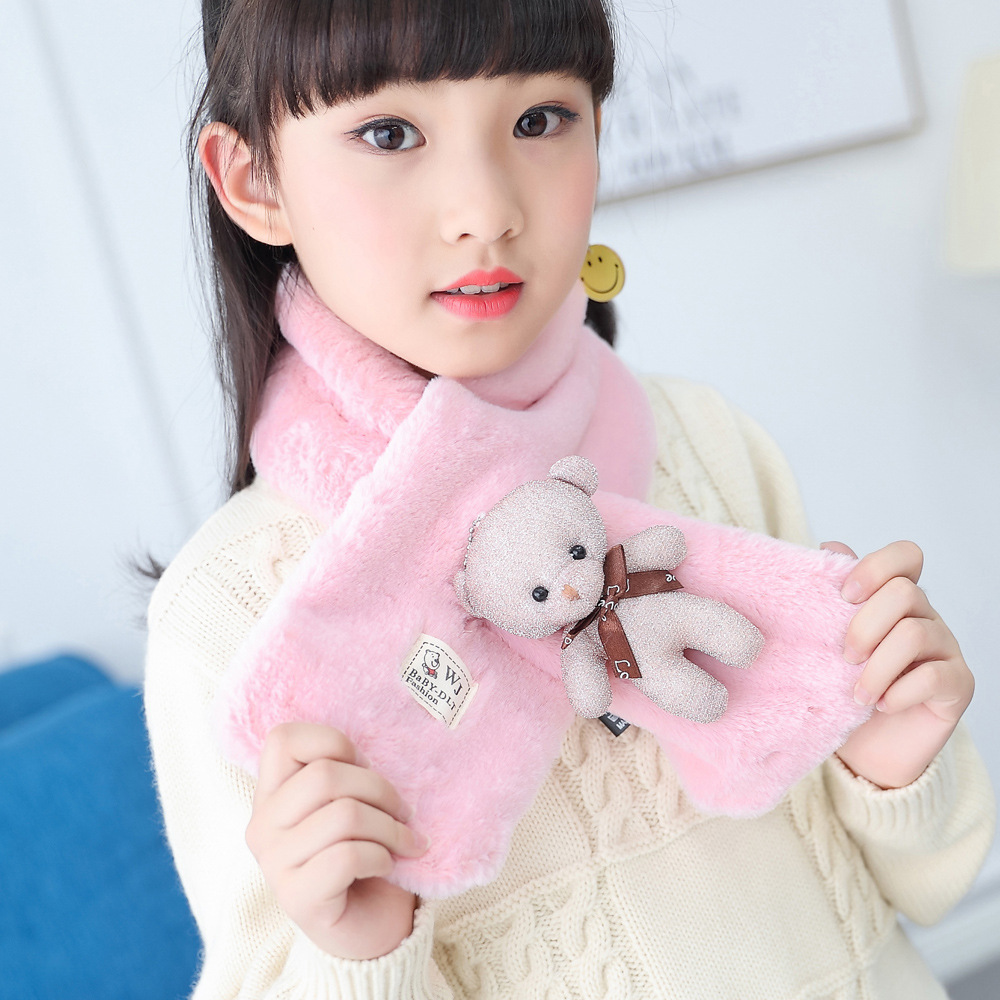 2017 Winter Cotton Baby Scarf Children Girls Boys Kintted Wool O-Scarves Chidren Outing Protect Kint Solid Color-002