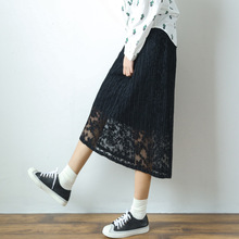 2017 autumn long black white lace skirt pressure plait pleated skirt for women bust maxi skirt faldas manufacturer wholesale(China)