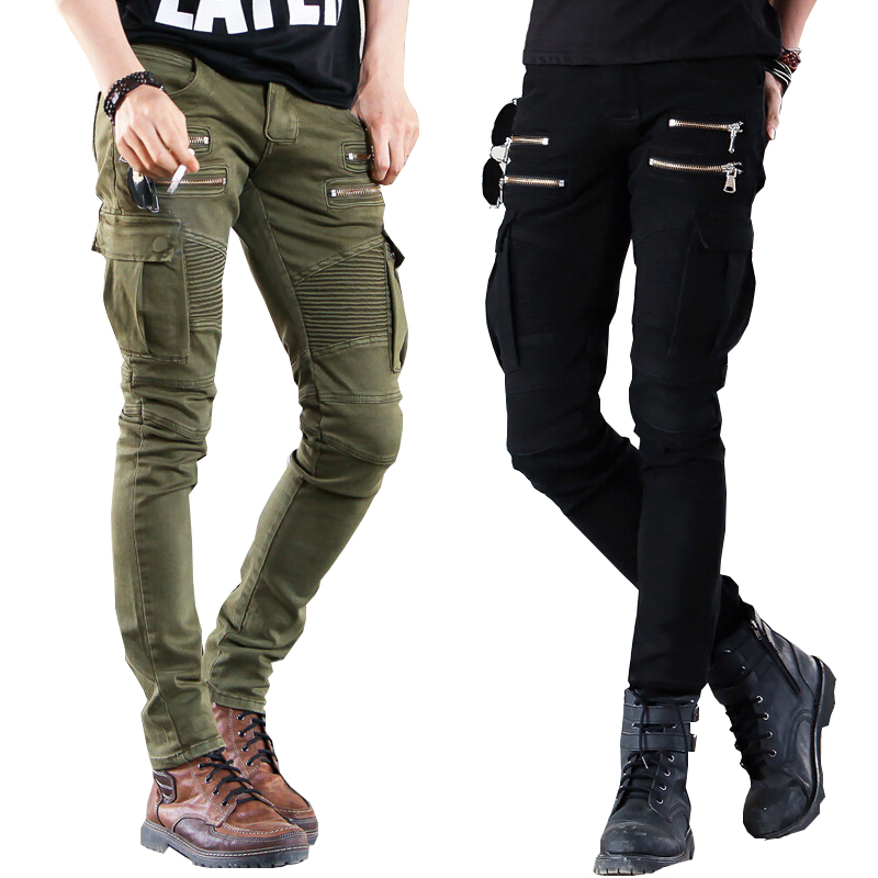 ФОТО Mens Skinny 2017 Green Black Denim Biker jeans  Runway Distressed slim elastic jeans hiphop Washed  Hot Sell