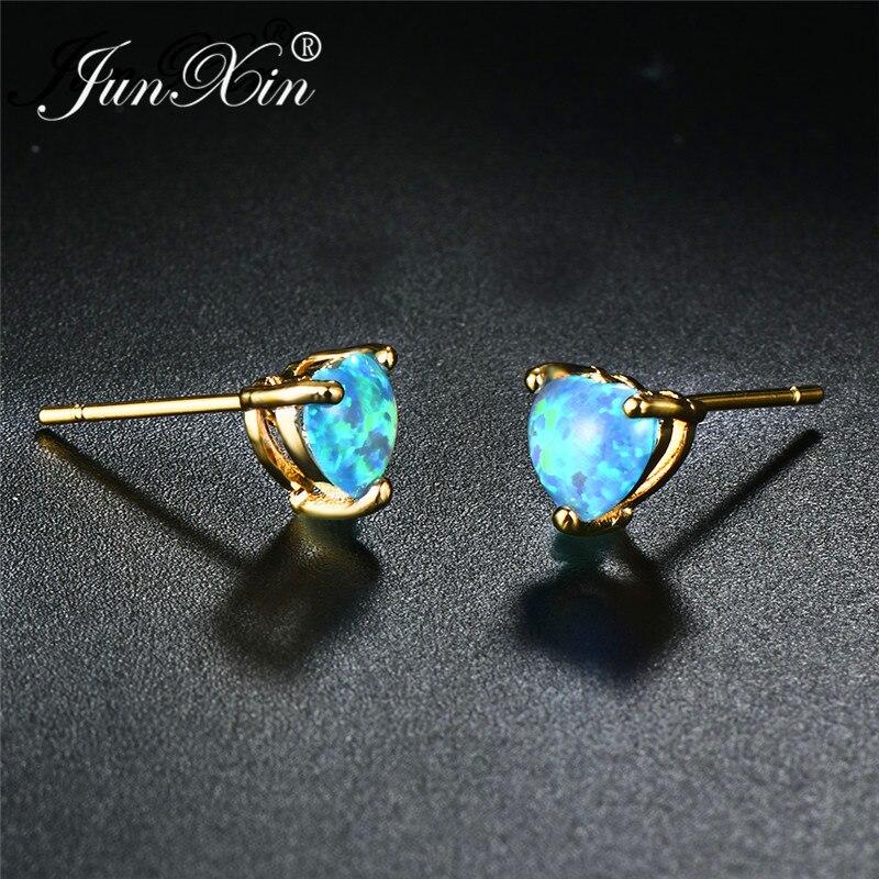 JUNXIN Rainbow Fire Opal Heart Stud Earrings For Women Yellow Gold Filled Green/White/Blue Opals Birthstone Piercing Earrings
